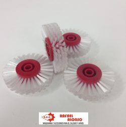 Cepillo limpiar cantos,disco rojo,pelo blanco ancho recto(2)