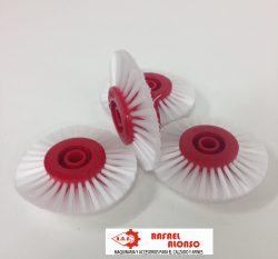 Cepillo limpiar cantos,disco rojo,pelo blanco estrecho convergente(2)